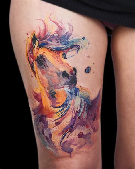 watercolor tattoo unicorn gorgeous watercolor by bori falvay