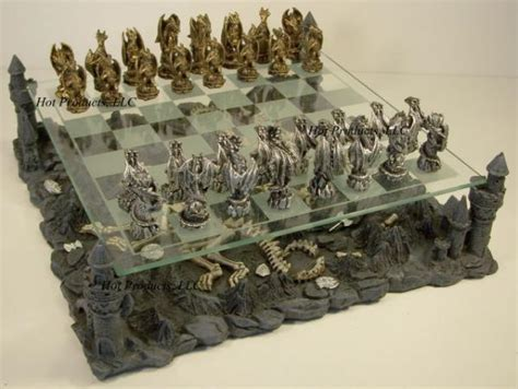 dragon chess set pewter metal medieval times dragon fantasy gothic chess