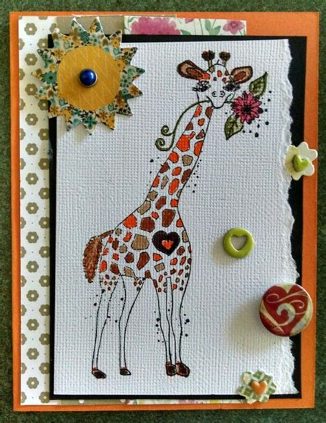 The Handmade Card Company - giraffe handmade card using unity st company rubber