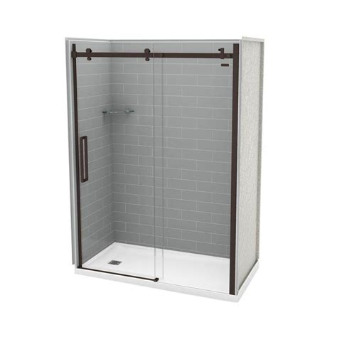 Direct Shower Door Reviews Utile By Maax 32 In X 60 In X 83 5 In Direct To Stud Right Alcove Shower Kit In Metro Ash