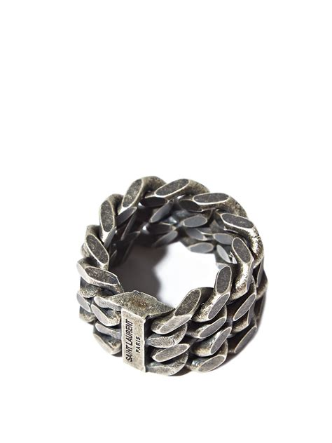 Chain Silver Ring lyst laurent mens silver chain ring in
