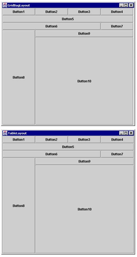 grid layout tablelayout tablelayout