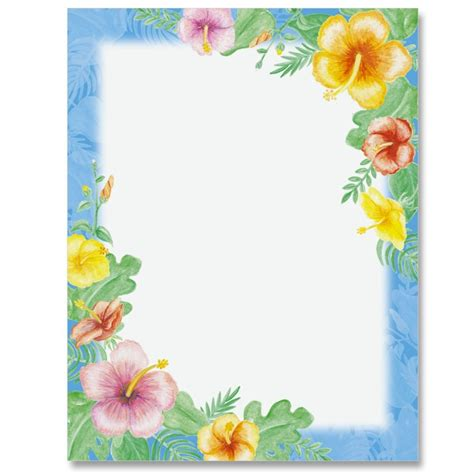 printable tropical flowers hawaiian floral letter paper ideaart yazi fonlari