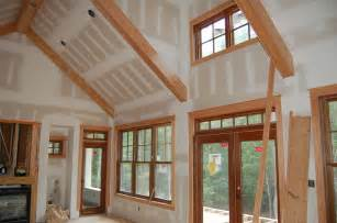 Much of the window and door trim was installed on the main floor last