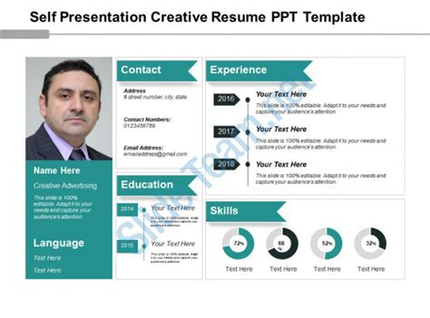 Self Presentation Creative Resume Ppt Template Presentation Powerpoint Images Exle Of Ppt Creative Resume Templates Powerpoint