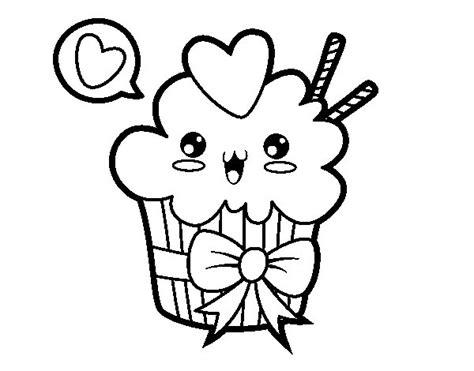 imagenes de dibujos kawaii dibujo de cupcake kawaii con lazo para colorear dibujos net