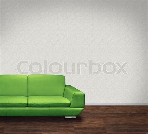 modern green leather sofa in room with floor and