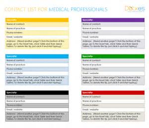 medical contact list template for word dotxes