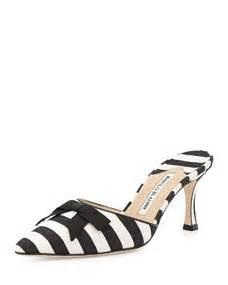 Pre Fall Manolo Blahniks Ship Mid July So You Get Summer Wear Out Of Peep Toe Shoe Styles Like This Lace Dorsay by Manolo Blahnik Carolyne Mid Heel Striped Fabric Slide