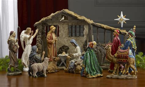 the full real life nativity creche