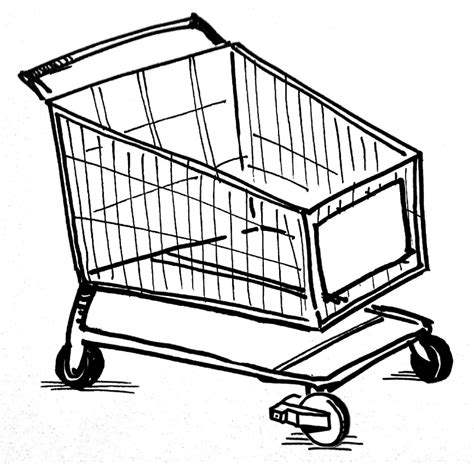 shopping cart drawing sketch coloring page