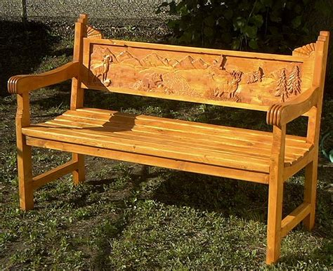 handcarved bench