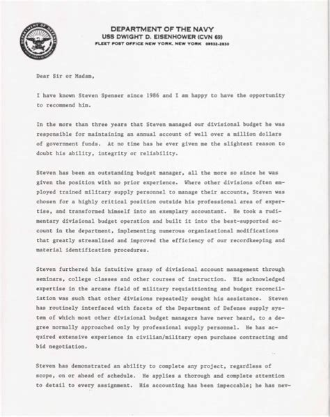 Navy Letter Of Agreement U S Navy Letter Of Recommendation 1