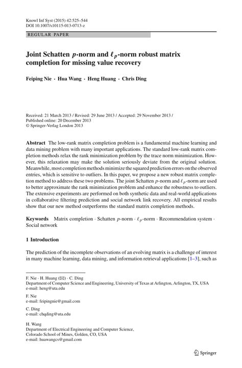 (PDF) Joint Schatten -norm and -norm robust matrix