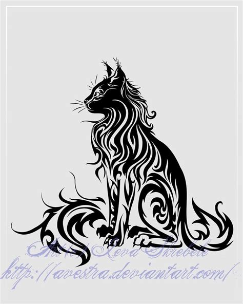 cat tattoo deviantart sitting cat tribal tattoo ii by avestra on deviantart