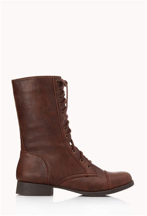 forever 21 boots lyst forever 21 everyday combat boots in brown