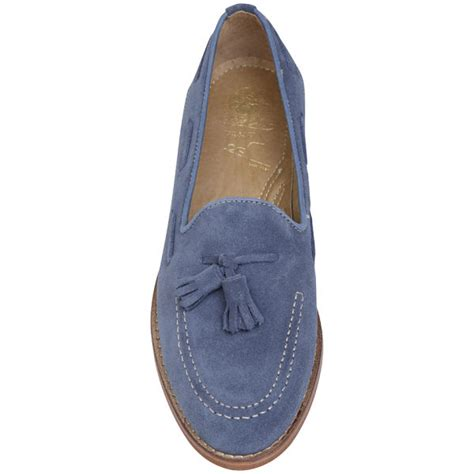 blue womens loafers lyst h by hudson womens stanford suede loafers in blue