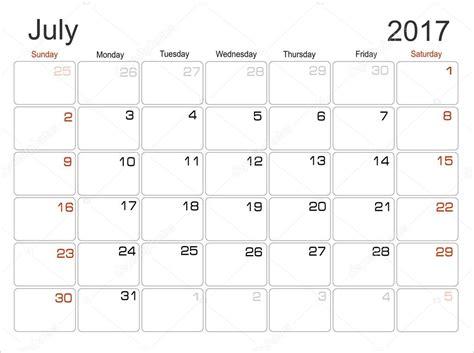 Juli Kalender 2017 Planung Kalender Juli 2017 Stockvektor 101138216
