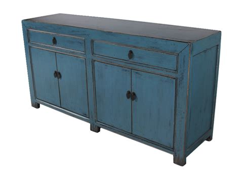 blue sideboard cabinet media console buffet credenza