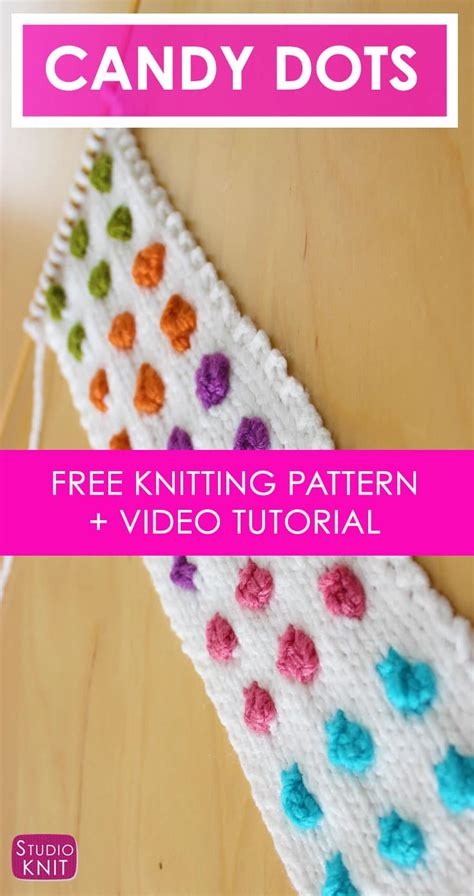 knitting pattern video tutorial how to knit candy button dots cuff bracelet pattern with