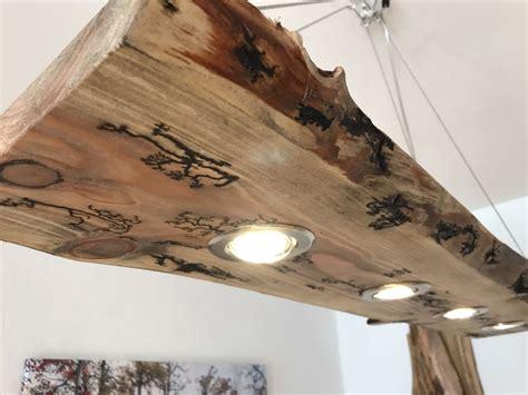 kronleuchter befestigen led decken holz le rustikal 120cm 4x 7w massivholz