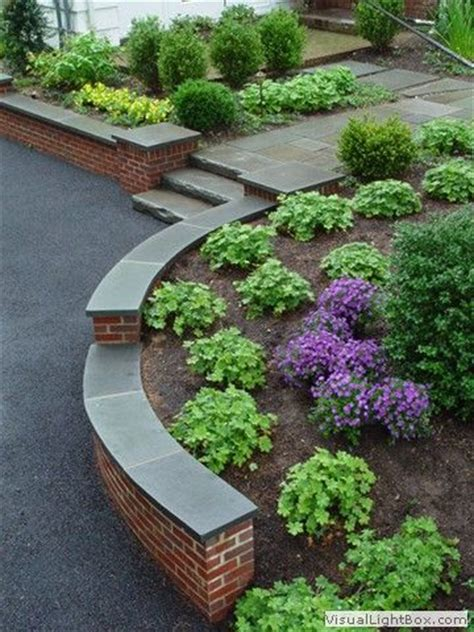 Front Yard Wall Design - rock fence designs curved brick retaining wall with front yard plantings stone slab steps