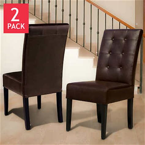 Costco Leather Dining Chairs Andrew Bonded Leather Dining Chair 2 Pack