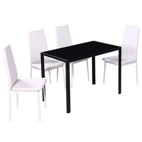 Vidaxl 5pcs Dining Furniture Set Black Glass Top Table Glass Dining Table With White Leather Chairs