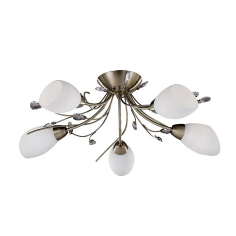 5 Light Ceiling Light by Searchlight 1765 5ab Gardenia 5 Light Antique Brass Semi Flush Ceiling Light