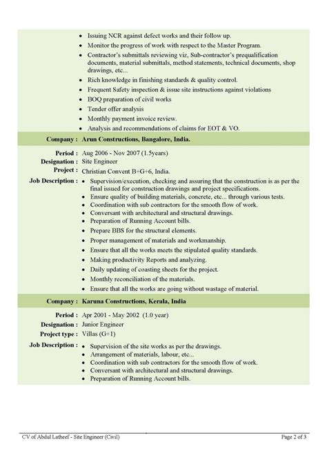 Sample Resumes For Students With No Work Experience by Civil Engineer