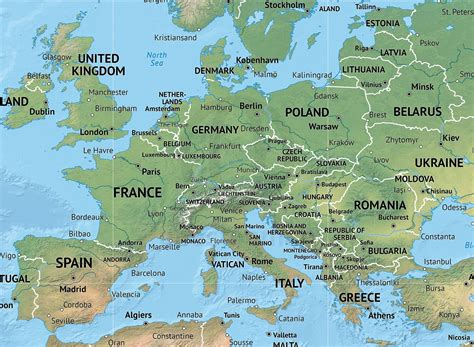 map of europe in detail detailed world map shaded relief miller europe africa