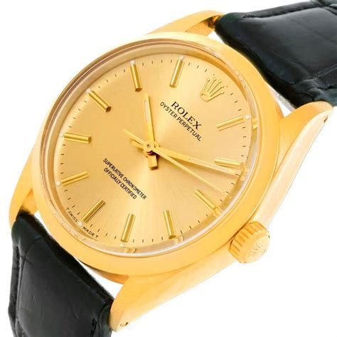 rolex oyster perpetual vintage mens  yellow gold