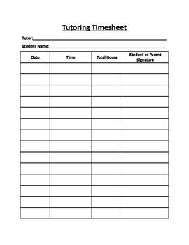 Tutoring Timesheet By Little Fish Teachers Pay Teachers Tutoring Report Template