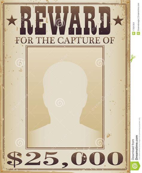 reward poster stock vector illustration of cowboy