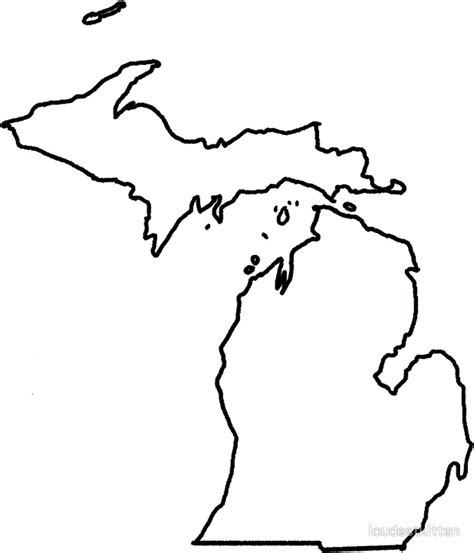 Outline Of Michigan State by Quot Michigan White Outline Quot Stickers By Loudestkitten Redbubble