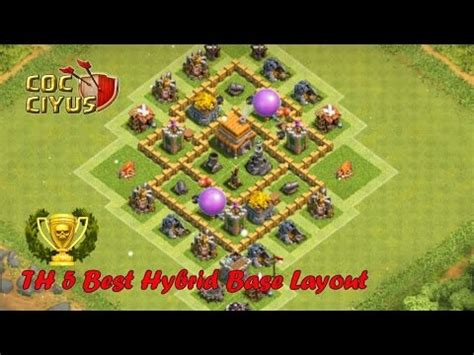 layout hybrid coc th5 clash of clans town hall 5 defense coc th5 hybrid base
