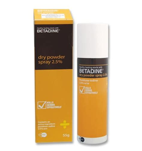 Betadine Powder Spray image of betadine powder spray 2 5 w v 2 5 x 55 g