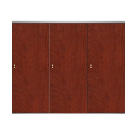 96 Sliding Closet Doors Impact Plus 96 In X 80 In Smooth Flush Cherry Solid Mdf Interior Closet Sliding Door With