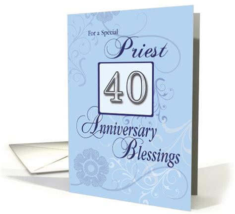Blank Religious Jublee Greeting Cards Templates Free by Priest 40th Anniversary Blue With Swirls Catholic Card
