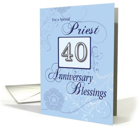 Priest 40th Anniversary Blue with Swirls, Catholic card