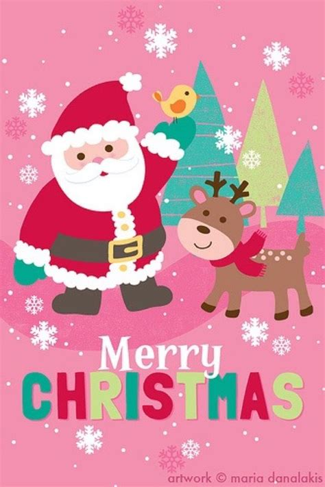 pink santa  reindeer merry christmas wallpaper christmas artwork christmas drawing