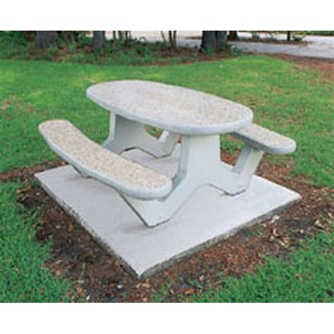 concrete picnic tables oval 84 in
