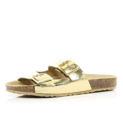gold metallic sandals river island gold metallic mule sandals in