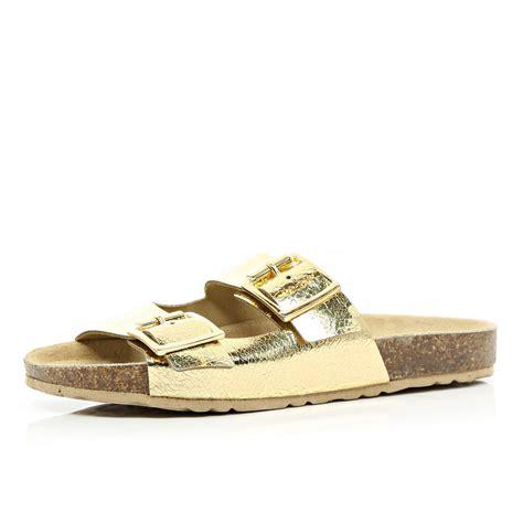 metallic gold sandals river island gold metallic mule sandals in