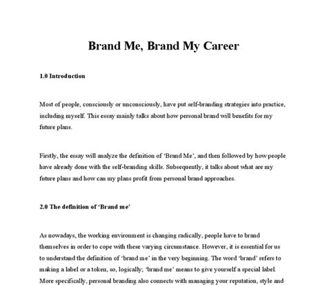 Brand Essay by Brand Me What Do Do With Self Branding Ideas Business And Administrative