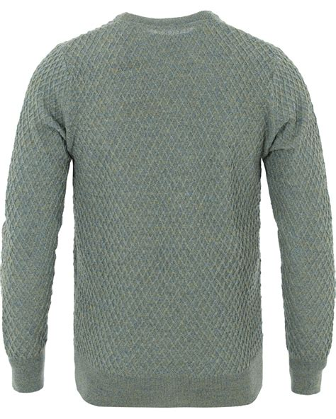waffle knit crew stenstr 246 ms knitted waffle weave crew neck green hos