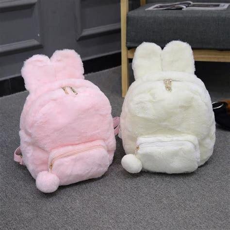 Cheongsam Rabbit Strawberry Plush Fluffy Bunny Rabbit Backpack Sd00778