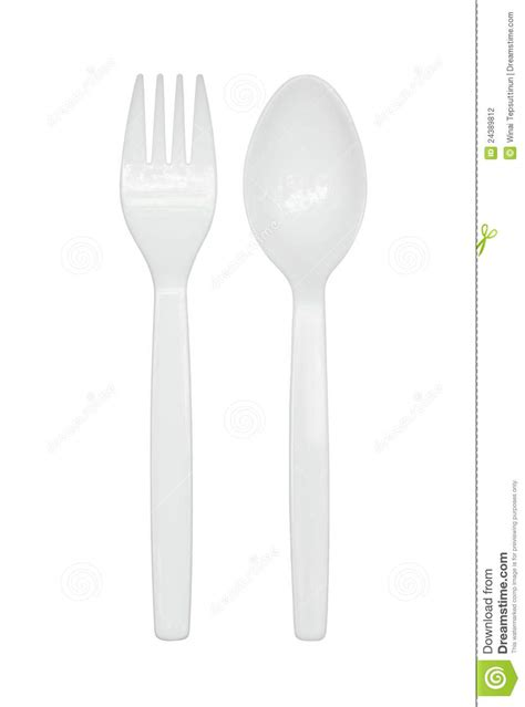 Plastic spoon and fork stock photo. Image of dining