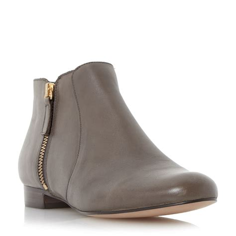 dune pandas side zip leather pixie boots in brown taupe