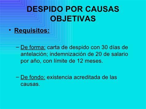 requisitos de la carta de despido por causas organizativas la extinci 243 n del contrato de trabajo